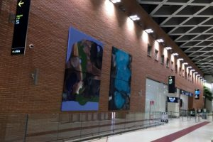 SET-UP OF PAINTINGS OF SONIA ROS AT MARCO POLO AIRPORT